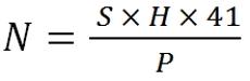 N= S*H*41/P